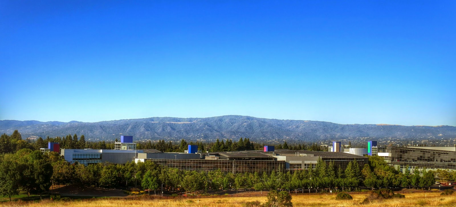 View of the Googleplex from Vista Slope in Mountain View, California