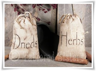 Grungy Primitive Drieds and Herbs Muslin Bags