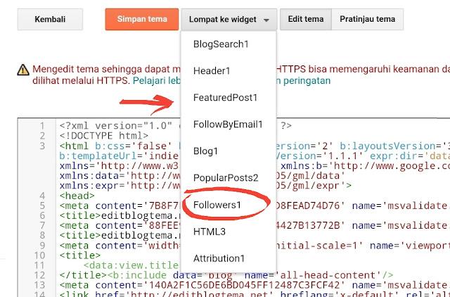 memunculkan menu dropdown berisikan daftar widget yang ada didalam template blogger kita