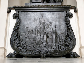 Bronze relief of the siege of Corfe Castle,  in the house at Kingston Lacy