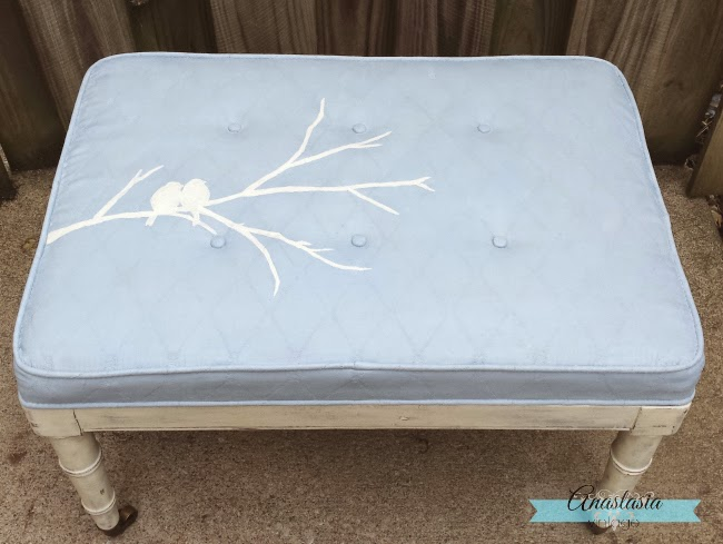 painted upholstery louis blue white bird on branch stencil