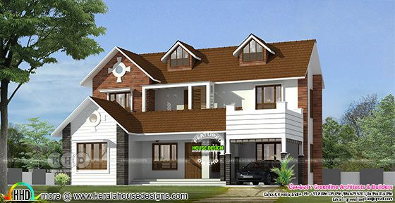 2946 sq-ft dormer window house with 5 BHK