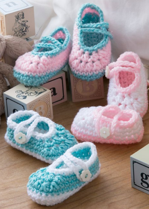 Two-Color Baby Booties - Free Pattern