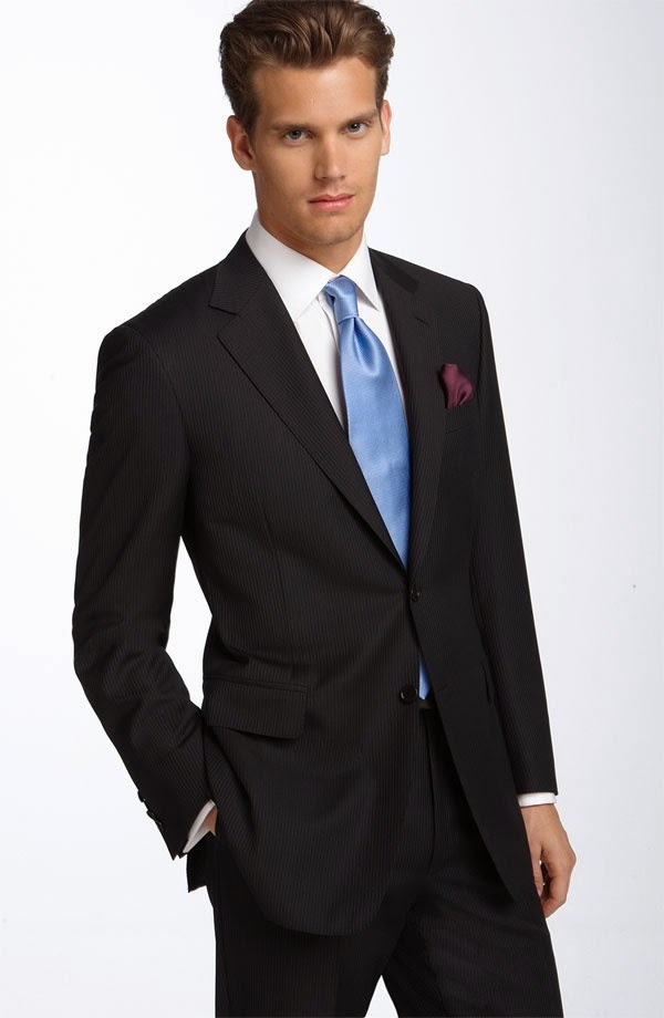 Navy Suit Black Shoes Red Tie