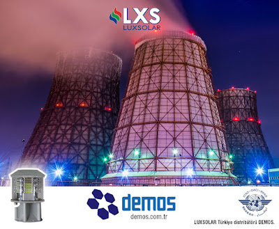 Aviation obstruction light systems on chimneys, stacks and cooling towers