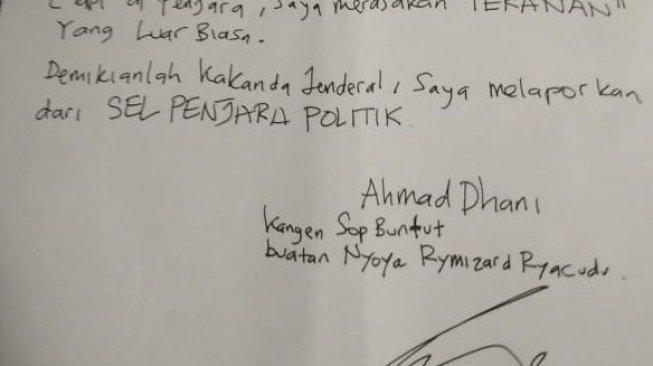 "Secarik Surat Ahmad Dhani di Balik Bui ""Saya Divonis Anti Kristen"""