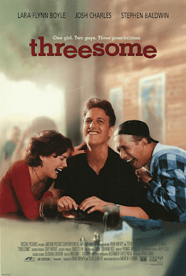 Threesome (1994) movie poster Lara Flynn Boyle (left) Josh Charles (center) Stephen Baldwin (right)