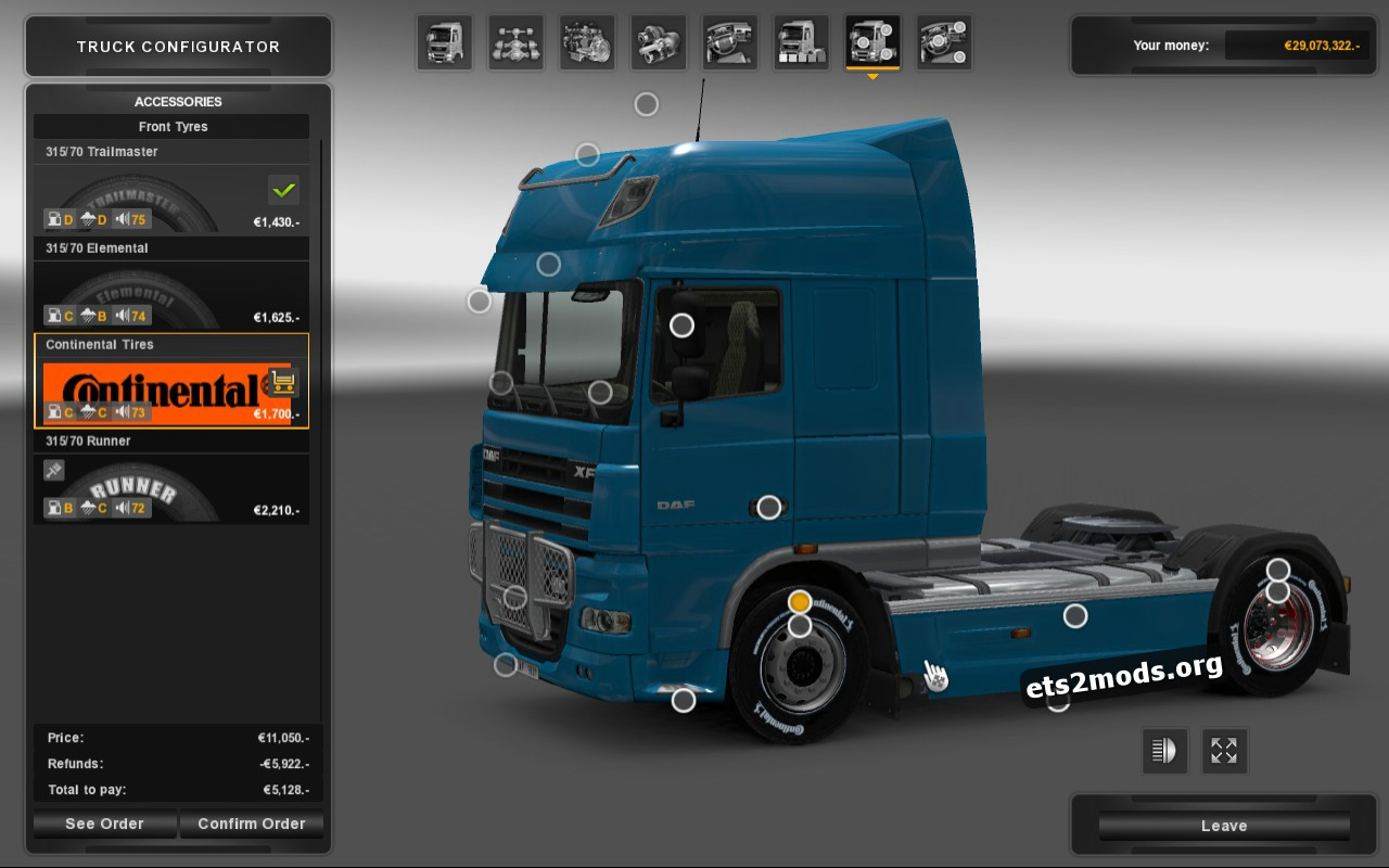 Tuning Parts - Chrome Rims & Continental Tires version 1.1