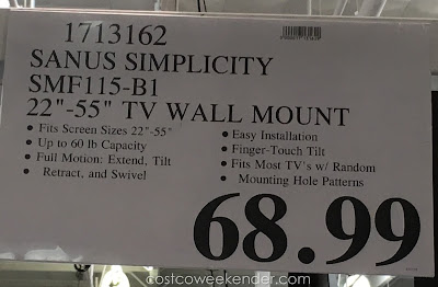 Deal for the Sanus Simplicity SMF115-B1 TV Wall Mount at Costco