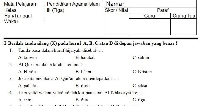 Download Kumpulan Soal Uts Sd Mi Kelas 3 Semester 2 Mata Pelajaran Pendidikan Agama Islam Tahun