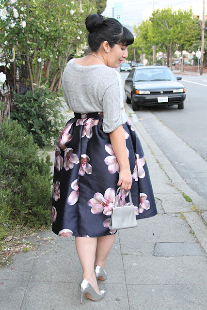 Floral Midi Skirt and Metallic Heels