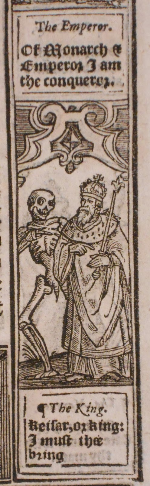 A narrow woodcut showing a skeleton escorting a richly dressed man.