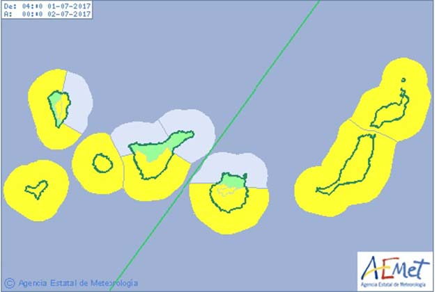 Avisos amarillos por viento y costeros en Canarias, sábado 1 de julio