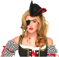 Women's Sequin Trimmed Pirate Hat and Heart Eyepatch Adult - Black