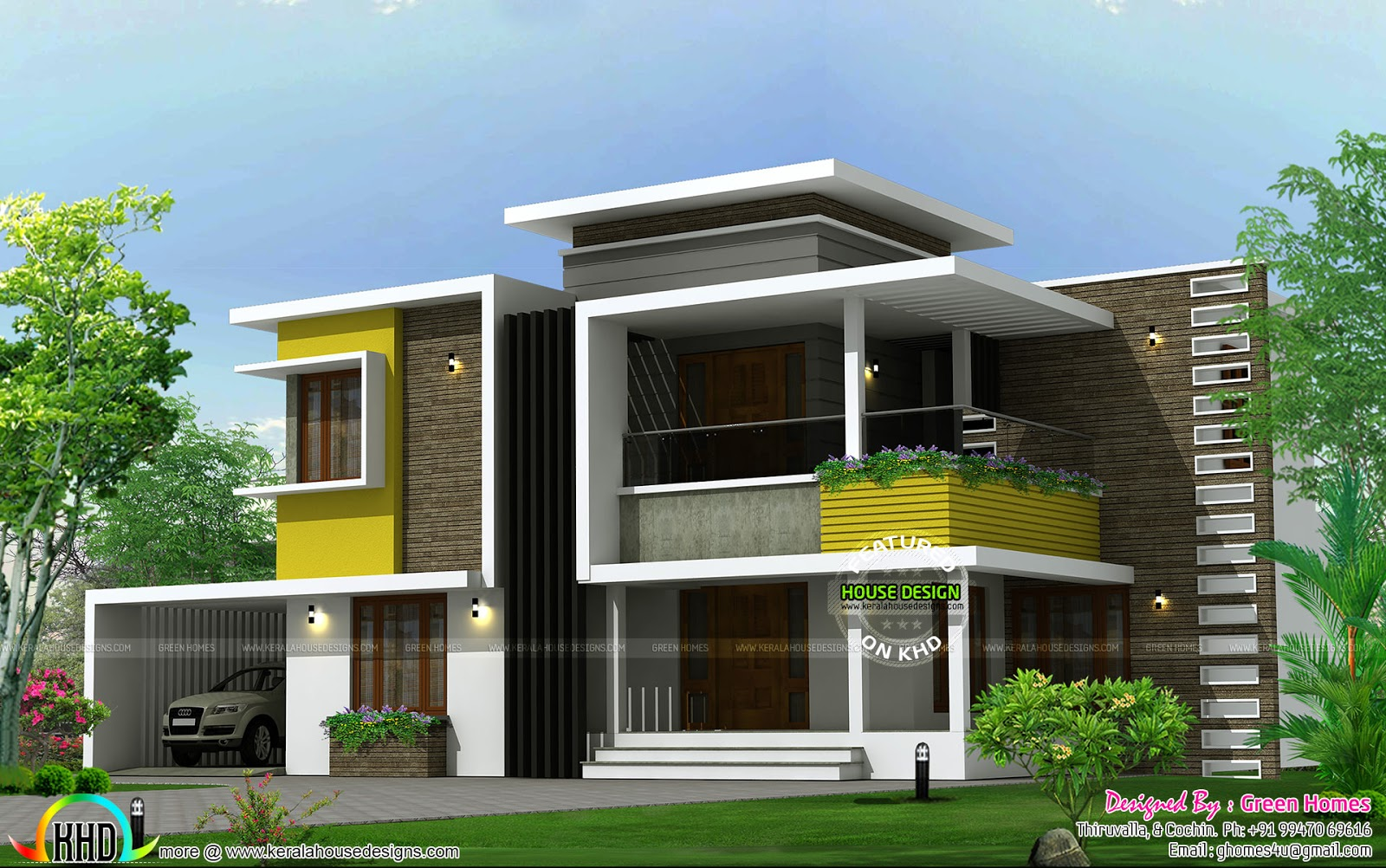 305 square yards box type contemporary home kerala home for Modern box type house design
