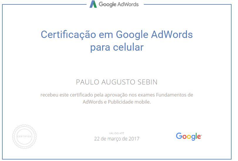 Certificado em publicidade dispositivos móveis pelo Google