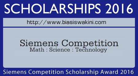 Siemens Competition Scholarship Awards 2016