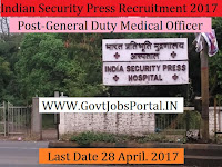 Indian Security Press Recruitment 2017– General Duty Medical Officer