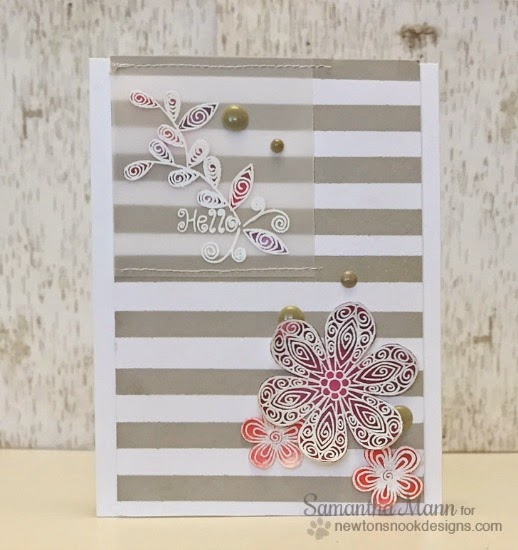 Vellum Flower Card by Samantha Mann| Beautiful Blossoms stamp set by Newton's Nook Designs