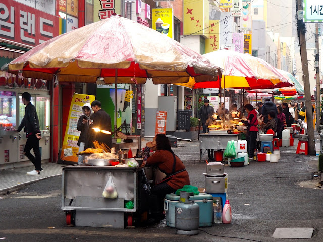 Street food carts in a small street in Seomyeon, Busan, South Korea