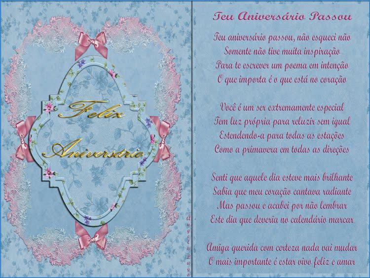 Poemas De Aniversario Para Amiga: TEU ANIVERSÁRIO PASSOU (Para CarolCarolina)