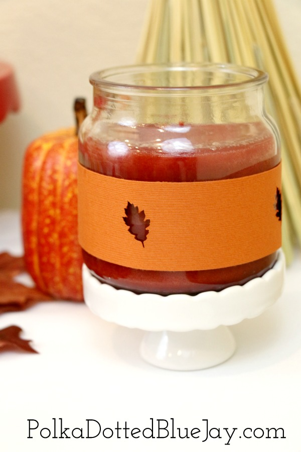 This is a quick and easy craft on how to make a fall candle wrap. These are great for adding a little extra DIY flare to your fall decor.  #ad #LoveAmericanHome #cbias #CollectiveBias