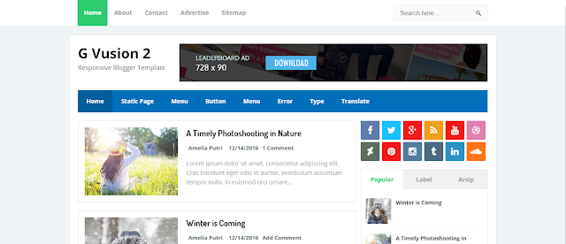 G Vusion 2  Blogger Template Free