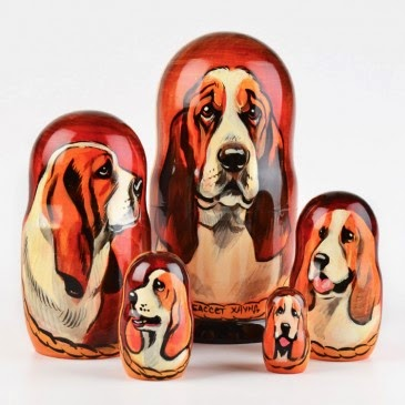 Basset Hound Dog Nested Dolls