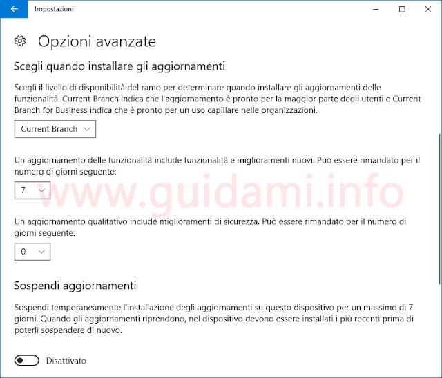 Windows 10 Impostazioni Sospendere aggiornamenti funzionalità.png