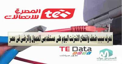 تعرف اسباب ضعف ضعف وانقطاع خدمة الانترنت الارضي والهاتف اليوم في مصر
