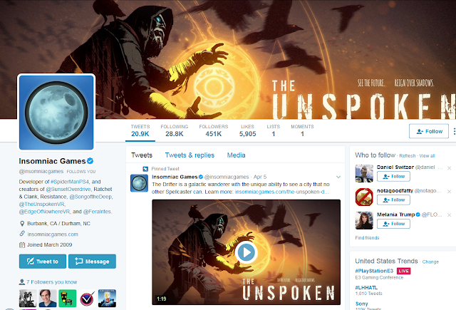 Insomniac Games Twitter account The Unspoken E3 2017