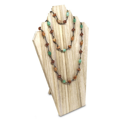 Wooden Jewelry Display Bust with Easel inOak from NileCorp.com