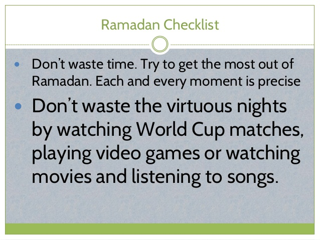 Ramadan Checklist - Don'ts