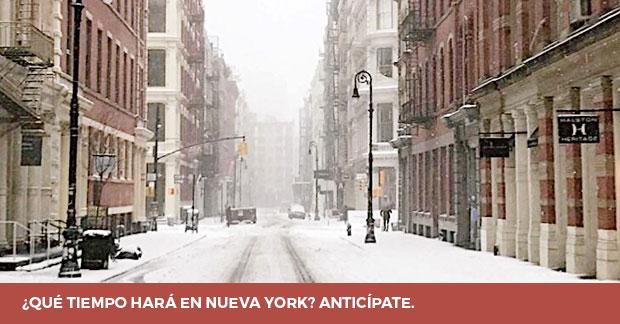 El tiempo en Nueva York calles nevadas