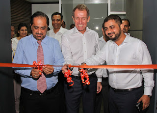 Hanif Yusoof - Founder & President, Peter Larsen - COO and Saif Yusoof - Managing Director of EFL Sri Lanka at the opening of a dedicated auditorium at the state-of-the-art EFL Campus in Orugodawatte