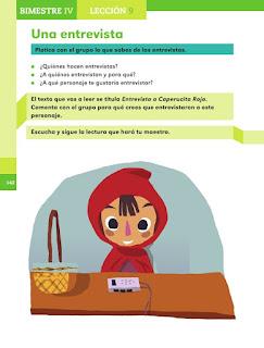 Apoyo Primaria Español 1er grado Bimestre 4 lección 9 Una entrevista