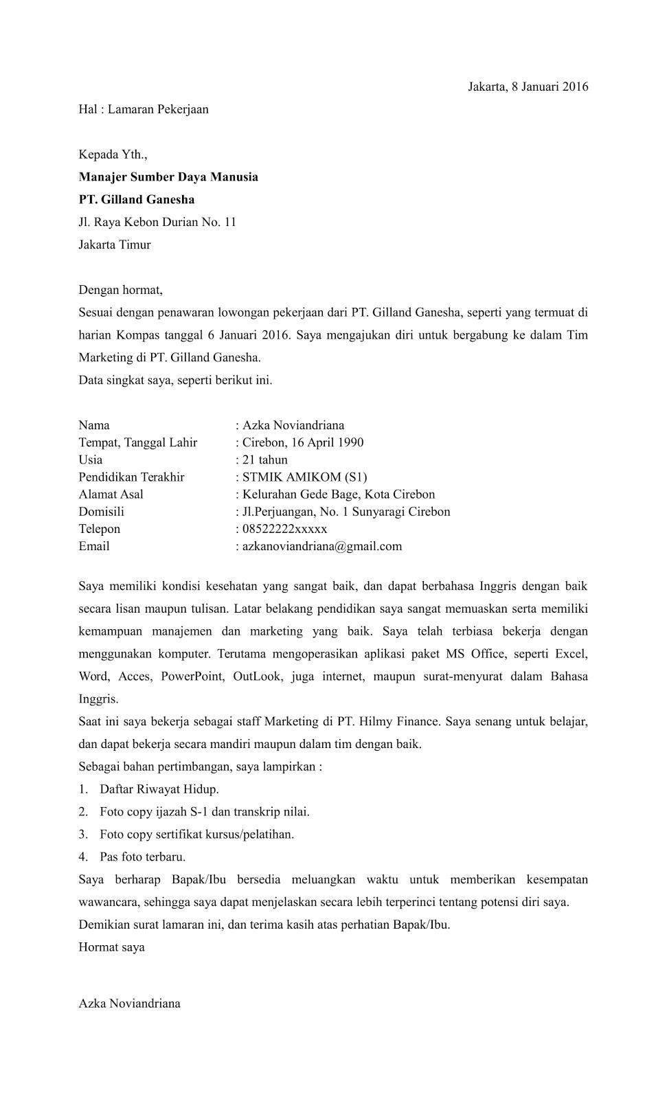 Contoh Surat Lamaran Kerja Di Pt Hwi Contoh Surat Lamaran Kerja