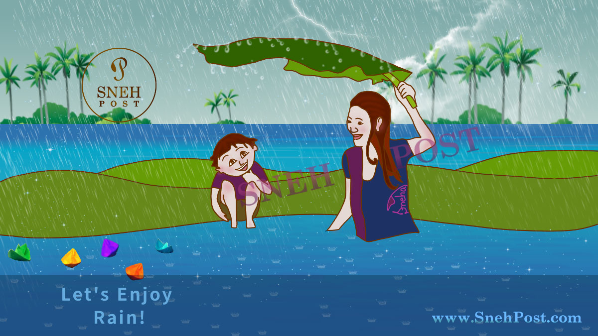 How to enjoy rain: Cartoon illustration of happy girl and boy in water under tree leaves drenching in rain and sailing the colorful paper boats in flowing water stream
