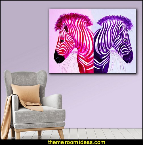 Lindsey Janich 'Zebras Pink Purple  zebra print bedroom decorating ideas - zebra print decor - zebra print bedrooms - wild animal decorating ideas - zebra theme room ideas - Zebra Print Wall Decal - zebra bedding - zebra print throw pillows - zebra wallpaper - zebra murals - zebra wall decorations - zebra posters