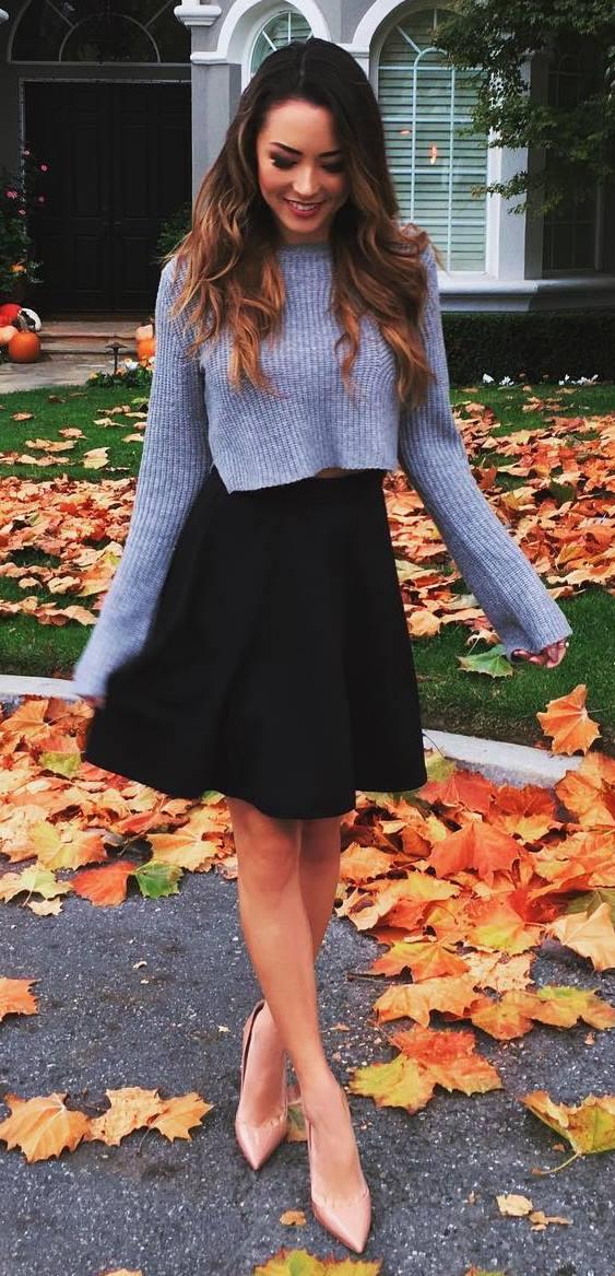 fall outfit inspiration: knit + skirt + heels
