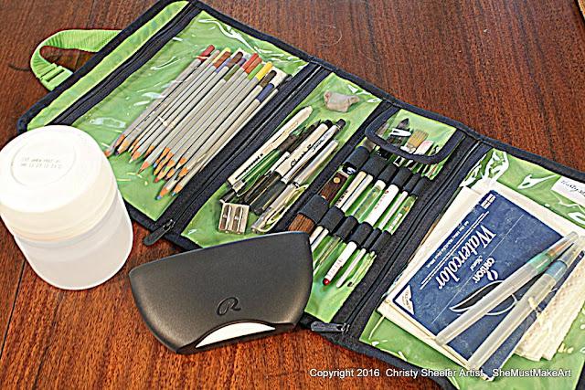 Zipper bag for watercolor art supplies, watercolor art kit, summer artist travel