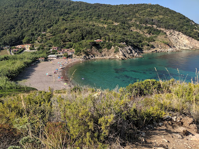 View of Nisportino beach from the Pietre Rosse trail.