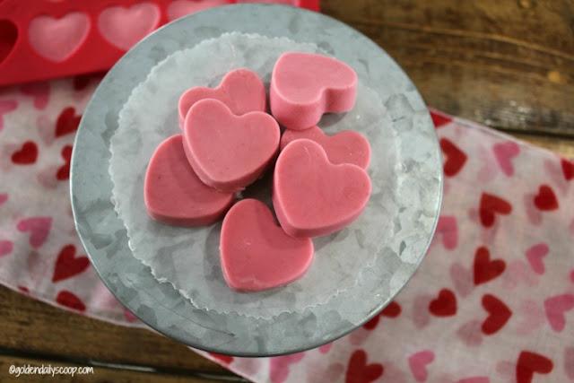 strawberry and banana heart shaped frozen Valentine dog treats