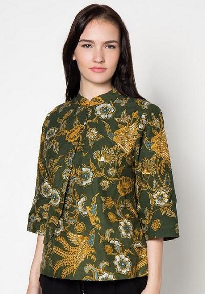 model baju batik kerja wanita lengan pendek terbaru modis