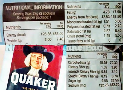 Quaker Oatmeal cookies Chocolate Chip Nutrition Facts