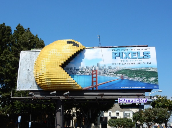 Pixels 3D PacMan movie billboard