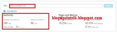 Domain authority dan page authority youtube backlink berkualitas