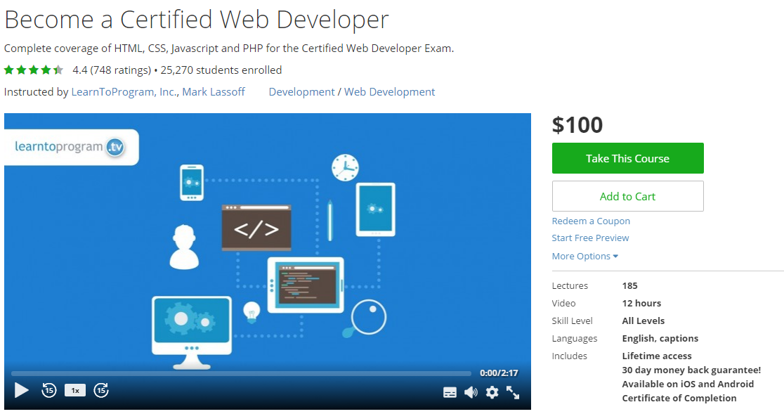 Udemy Course : Become Certified Web Developer ~ Free Udemy