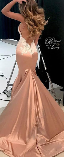 Brilliant Luxury ♦ rose gold satin lace evening dress long party gown mermaid prom dress 2018