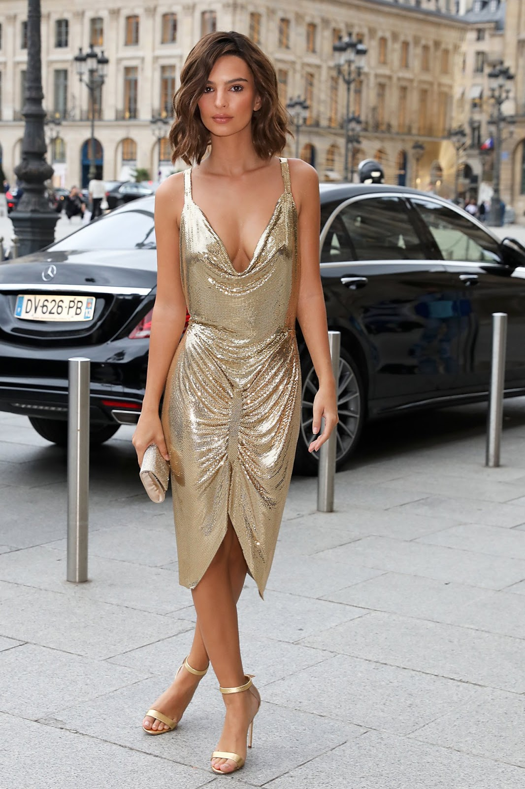 Emily Ratajkowski wears slinky dress out and about in Paris